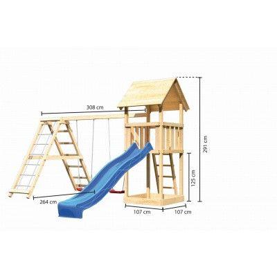 Afbeelding 2 van Akubi Speeltoren Lotti met glijbaan, dubbele schommel en klimgedeelte (89349)
