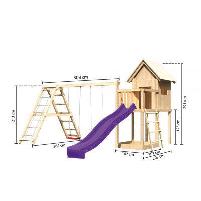 Afbeelding 2 van Akubi Speeltoren Frieda met glijbaan, dubbele schommel en klimgedeelte (91187)