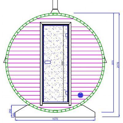 Afbeelding 2 van Azalp Buitensauna Barrel 207x380 cm in 45 mm