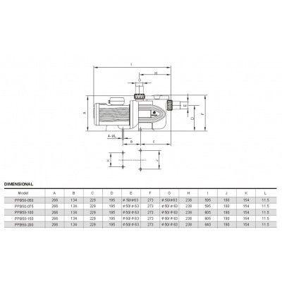 Afbeelding 3 van Royal Blue PPB50-200 23,5 m3/u TRI (krachtstroom)