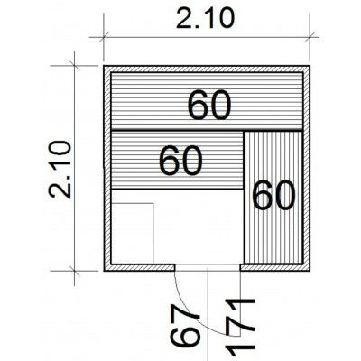 Afbeelding 43 van Azalp Massieve sauna Genio 210x210 cm, 45 mm