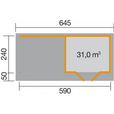 Afbeelding 2 van Weka Designhuis 126 B Gr.1, 590x240 cm grijs