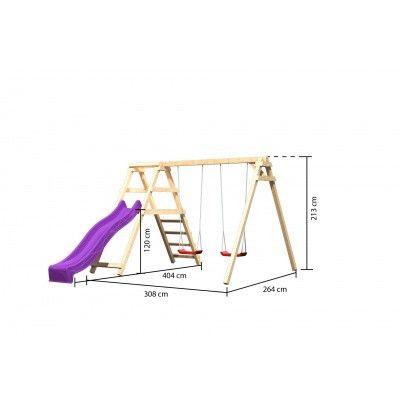Afbeelding 2 van Akubi Dubbele schommel Felix met klimgedeelte en glijbaan (89340)