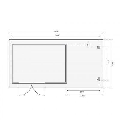 Afbeelding 2 van Woodfeeling Bastrup 8 met veranda 200 cm (78676)