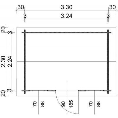 Bild 2 von Azalp Blockhaus Lis 350x250 cm, 30 mm