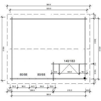 Afbeelding 65 van Azalp CLASSIC blokhut Cottage Style Cumberland 520x430 cm, 45 mm
