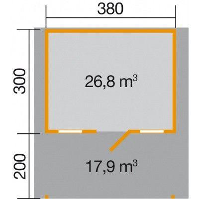 Afbeelding 2 van Weka Tuinhuis 135A Gr. 1 met Luifel 200cm