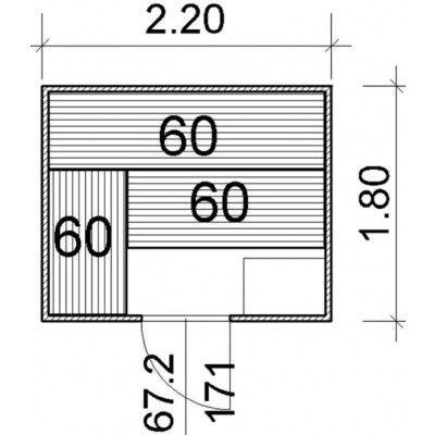 Afbeelding 43 van Azalp Massieve sauna Genio 220x180 cm, 45 mm