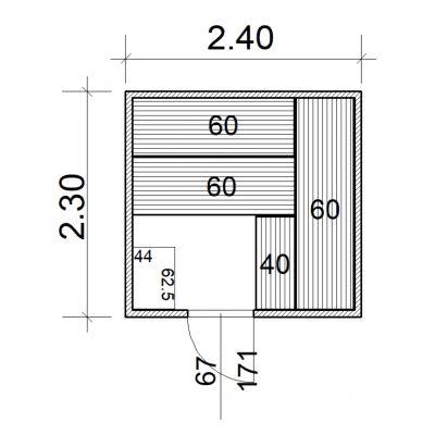 Afbeelding 2 van Azalp Massieve sauna Eva 240x230 cm, 45 mm