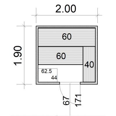 Afbeelding 2 van Azalp Massieve sauna Eva 200x190 cm, 45 mm