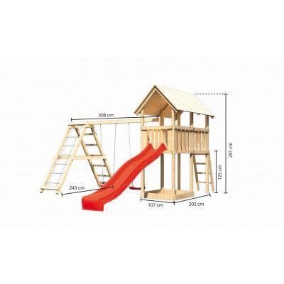 Afbeelding 2 van Akubi Speeltoren Danny met glijbaan, dubbele schommel en klimgedeelte (89362)