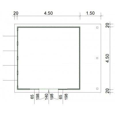 Afbeelding 3 van SmartShed Blokhut Isidro 450x450 cm, 45 mm