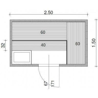 Afbeelding 43 van Azalp Massieve sauna Genio 250x210 cm, 45 mm