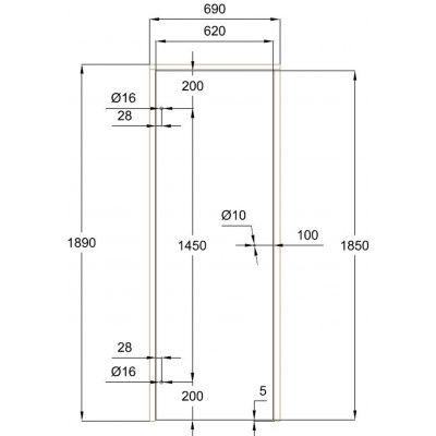 Afbeelding 2 van Ilogreen Saunadeur Trend (Elzen) 189x69 cm, melkglas