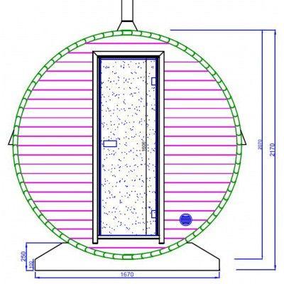 Afbeelding 13 van Azalp Buitensauna Barrel 207x380 cm in 45 mm
