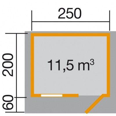 Afbeelding 2 van Weka Tuinhuis Premium28 FT Gr. 1 met Luifel 250cm