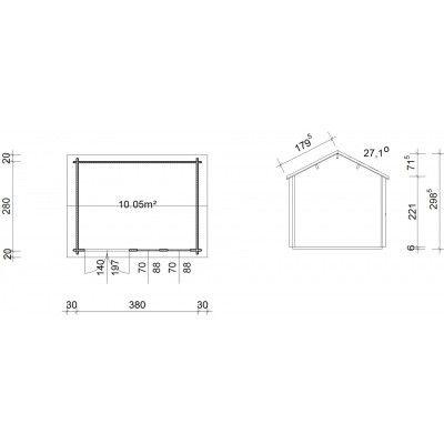 Bild 45 von Azalp Blockhaus Lynn 400x300 cm, 45 mm