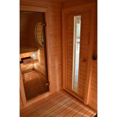 Bild 3 von Azalp Fasssauna Oval 402x240 cm, zwei Zimmer + Terrasse