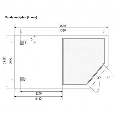 Afbeelding 8 van Karibu Goldendorf 3 met veranda 240 cm (78244)