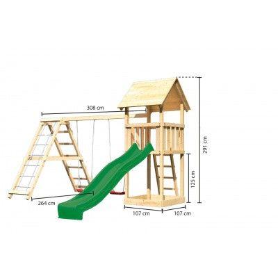 Afbeelding 2 van Akubi Speeltoren Lotti met glijbaan, dubbele schommel en klimgedeelte (89351)