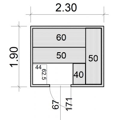 Afbeelding 2 van Azalp Massieve sauna Eva 230x190 cm, 45 mm