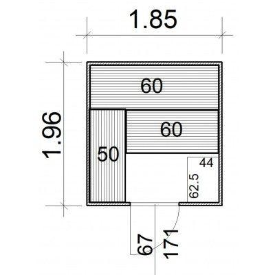 Afbeelding 5 van Azalp Massieve sauna Rio Standaard 185x196 cm, 39 mm
