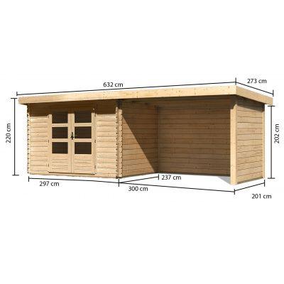 Afbeelding 2 van Woodfeeling Bastrup 3 met veranda 300 cm (91533)