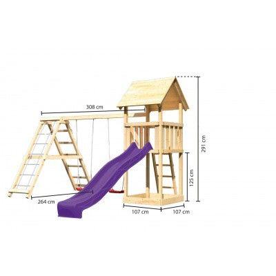 Afbeelding 2 van Akubi Speeltoren Lotti met glijbaan, dubbele schommel en klimgedeelte (89352)