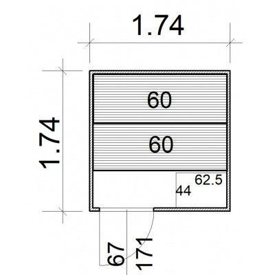Afbeelding 5 van Azalp Massieve sauna Rio Standaard 174x174 cm, 39 mm