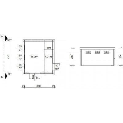 Bild 18 von Azalp Blockhaus Lars 400x450 cm, 45 mm