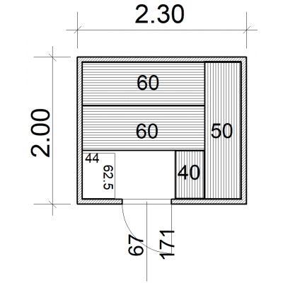 Afbeelding 2 van Azalp Massieve sauna Eva 230x200 cm, 45 mm