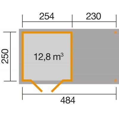 Afbeelding 2 van Weka Tuinhuis 321B Gr. 3 Aanbouw 230cm