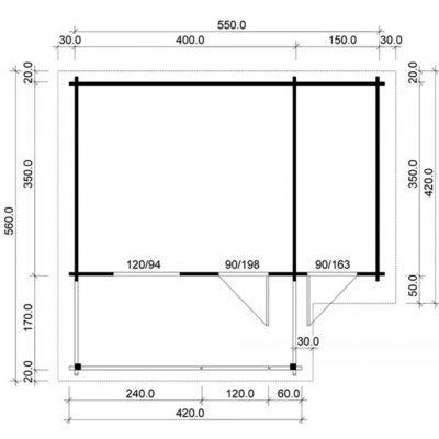 Bild 2 von Azalp Royal Class Blockhäuser Nida-TA 3,5x3,5 m, 45 mm