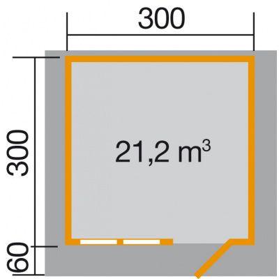 Afbeelding 2 van Weka Tuinhuis 139A Gr. 2 met Luifel 60cm