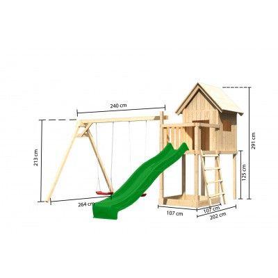 Afbeelding 2 van Akubi Speeltoren Frieda met glijbaan en dubbele schommel (91182)