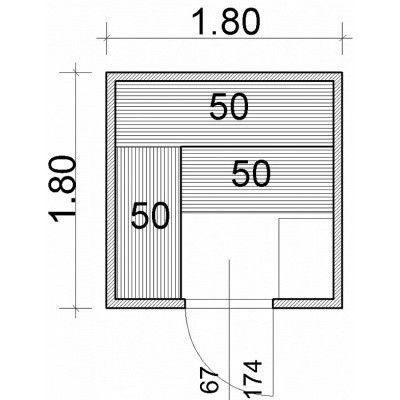 Afbeelding 43 van Azalp Massieve sauna Genio 180x180 cm, 60 mm