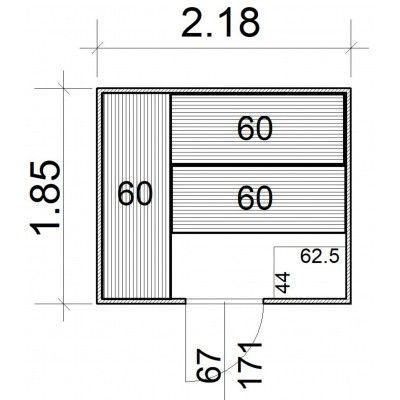 Afbeelding 5 van Azalp Massieve sauna Rio Standaard 218x185 cm, 39 mm
