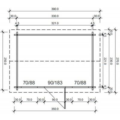 Bild 55 von Azalp Blockhaus Lis 350x250 cm, 45 mm