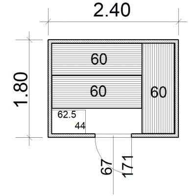 Afbeelding 2 van Azalp Massieve sauna Eva 240x180 cm, 45 mm