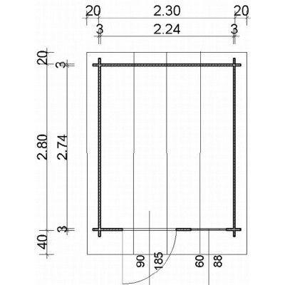 Bild 63 von Azalp Blockhaus Kent 250x300 cm, 30 mm