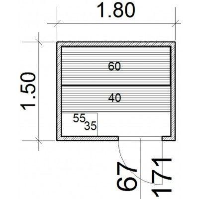 Afbeelding 43 van Azalp Massieve sauna Genio 180x150 cm, 45 mm