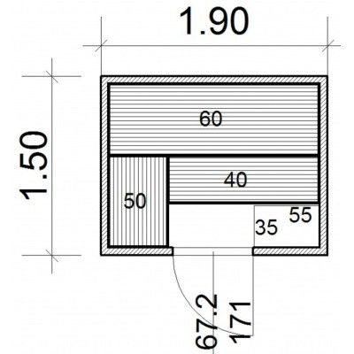 Afbeelding 43 van Azalp Massieve sauna Genio 190x150 cm, 45 mm