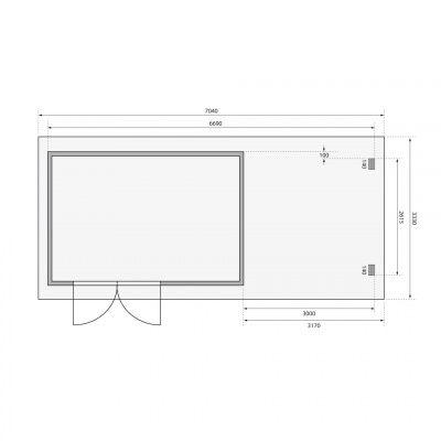 Afbeelding 2 van Woodfeeling Bastrup 8 met veranda 300 cm (78677)