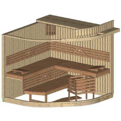 Bild 2 von Azalp Sauna Runda 220x220 cm, Espenholz