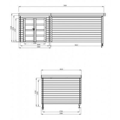Afbeelding 2 van Debro Angoisse met veranda 400 cm, Hoge druk geïmpregneerd