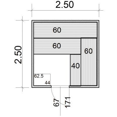 Afbeelding 2 van Azalp Massieve sauna Eva 250x250 cm, 45 mm