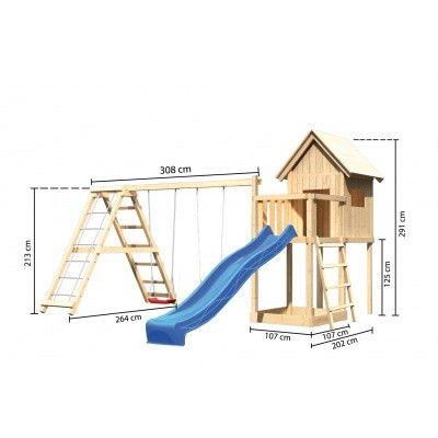 Afbeelding 2 van Akubi Speeltoren Frieda met glijbaan, dubbele schommel en klimgedeelte (91184)