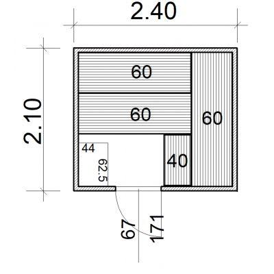 Afbeelding 2 van Azalp Massieve sauna Eva 240x210 cm, 45 mm