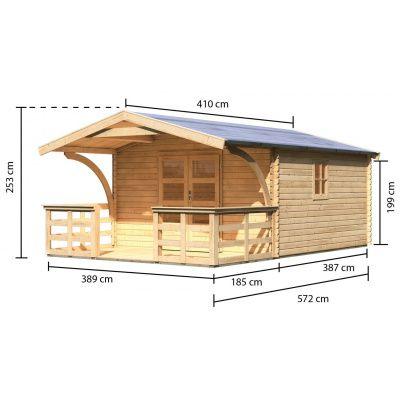 Afbeelding 3 van Woodfeeling Meldorf 6 met veranda 180 cm (91755)