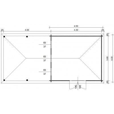 Afbeelding 23 van Azalp Blokhut Cas 840x400 cm, 45 mm